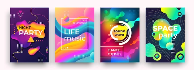 Affiche de dégradé abstrait. couleurs vibrantes et formes fluides, affiche du club de nuit, musique, dépliant du festival de danse
