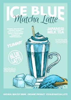 Affiche délicieuse de matcha latte bleu glacier