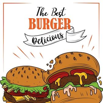 Affiche de délicieux ingrédients frais classiques de restauration rapide de hamburgers