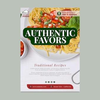 Affiche de délicieux plats italiens