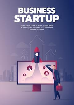 Affiche de démarrage homme d'affaires avec texte