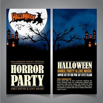 Affiche ou dépliant de deux côtés de halloween.