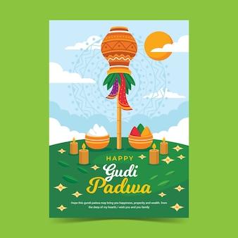 Affiche design plat gudi padwa