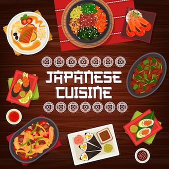 Affiche de dessin animé de cuisine japonaise