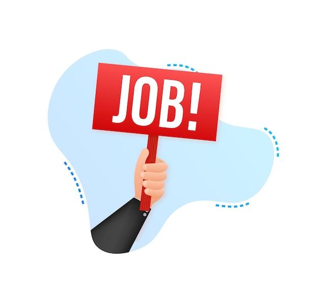 Affiche de dessin animé d'emploi avec la main tenant une pancarte pour la conception de bannière conception de panneau d'affichage de bannière