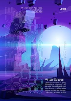 Affiche de dessin animé de l'espace extra-atmosphérique avec la surface de la planète extraterrestre.