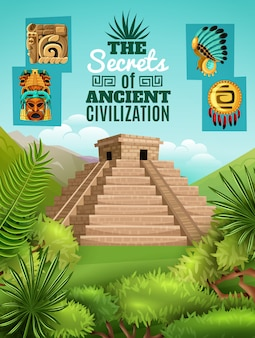 Affiche de dessin animé maya