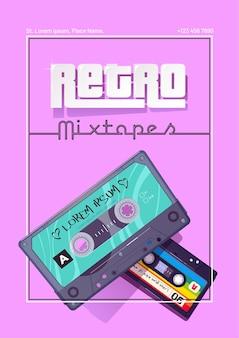 Affiche de dessin animé de mixtapes rétro avec cassettes audio