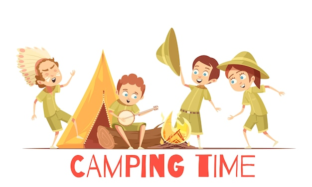 Affiche de dessin animé rétro activités de camp d'été scouts garçons avec jouer indien et chanter des chansons de feu de camp