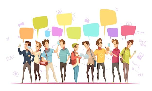 Affiche de dessin animé rétro en ligne de personnages adolescents communication avec des symboles musicaux et bulles de discussion messages vector illustration