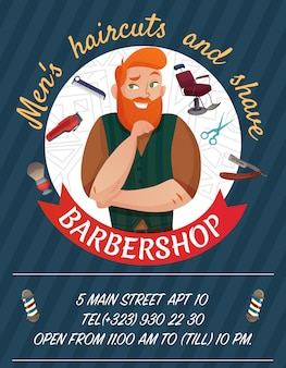 Affiche de dessin animé de salon de coiffure