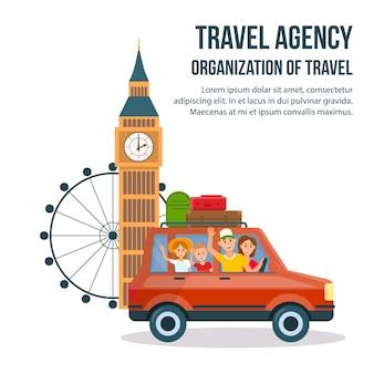 Affiche de dessin animé de visite touristique de grande-bretagne.