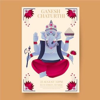 Affiche de dessin de ganesh chaturthi