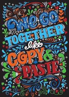 Affiche dessiné main avec des citations drôles