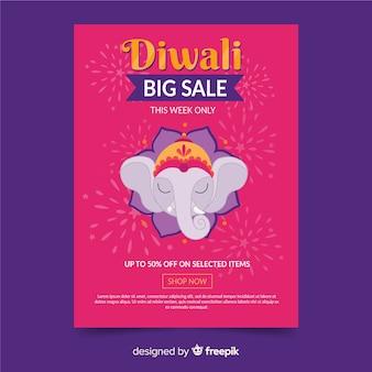 Affiche de dessiné main modèle diwali vente