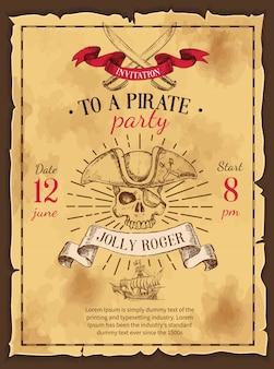 Affiche dessinée de fête de pirate