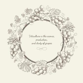 Affiche dessinée à la main de fruits abstraits avec grappe de cadre rond de raisins et inscription sur illustration vectorielle fond gris