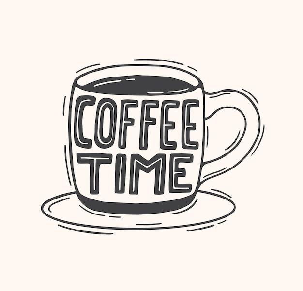 Affiche dessinée à la main de l'heure du café