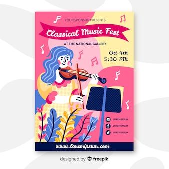 Affiche dessinée à la main pour le festival de musique classique
