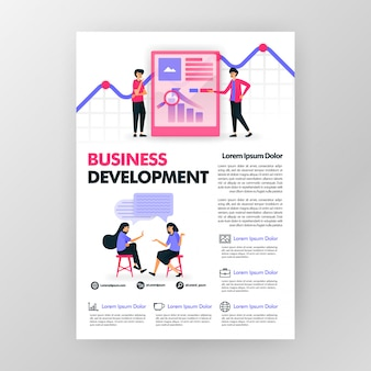 Affiche de développement des affaires avec illustration de dessin animé plane. pansement business brochure brochure couverture de magazine