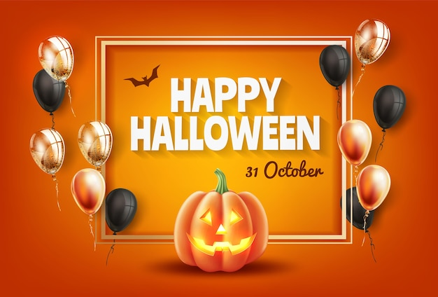 Affiche dhalloween heureux avec jack o lanterns visage de citrouille effrayant orange