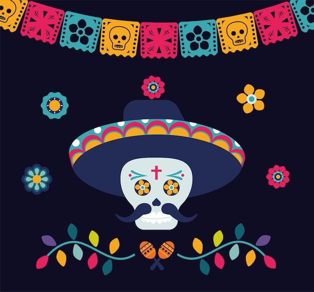 Affiche dia de los muertos avec crâne et guirlandes de mariachi