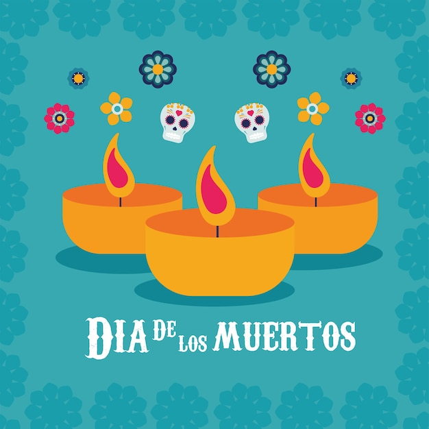 Affiche dia de los muertos avec des crânes et des bougies