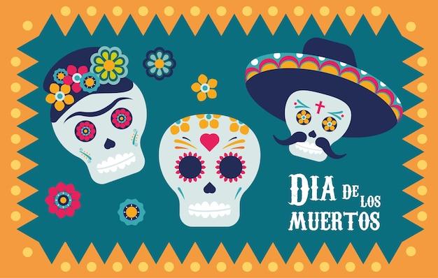 Affiche dia de los muertos avec des crânes et des fleurs