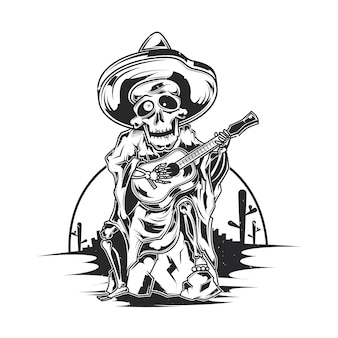 Affiche dillustration de musicien mexicain