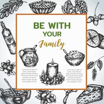 Affiche de dîner en famille dans un style vintage