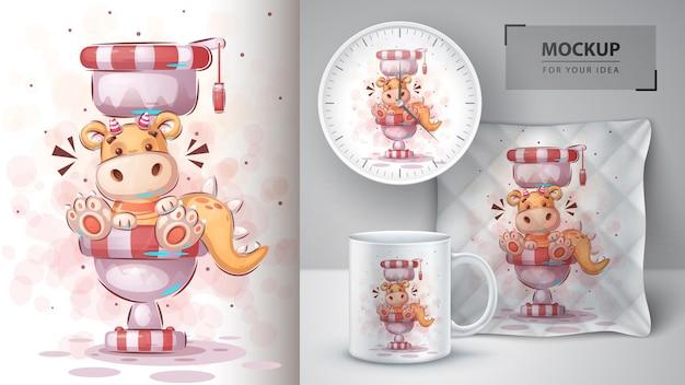 Affiche de dino de toilette et merchandising vecteur eps 10