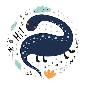 Affiche avec dinosaure mignon et lettrage.
