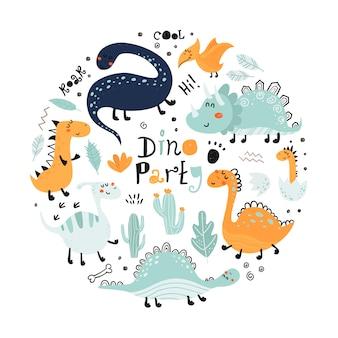 Affiche avec dinosaures mignons et lettrage.