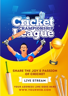Affiche en direct de la ligue de championnat de cricket ou conception du flyer.