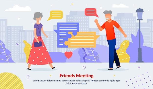 Affiche de divers amis âgés se réunissant à l'extérieur