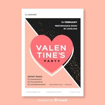 Affiche divisée de la fête de la saint-valentin
