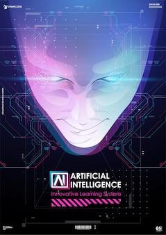 Affiche de données volumineuses et d'intelligence artificielle.