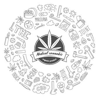 Affiche de doodle de cannabis.