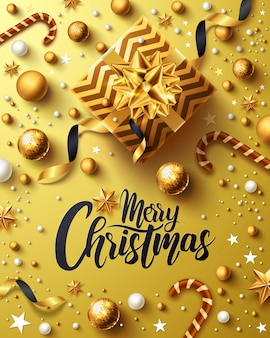 Affiche dorée de noël et du nouvel an avec un coffret doré