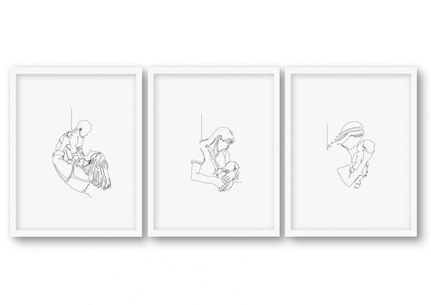 Affiche de douche de bébé fête des mères une ligne art illustration