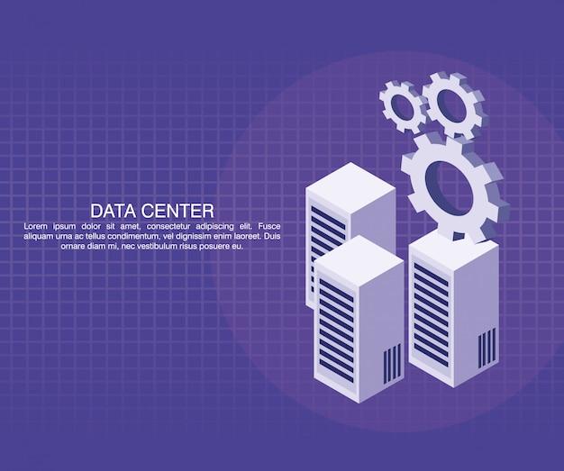 Affiche du centre de données avec informaton