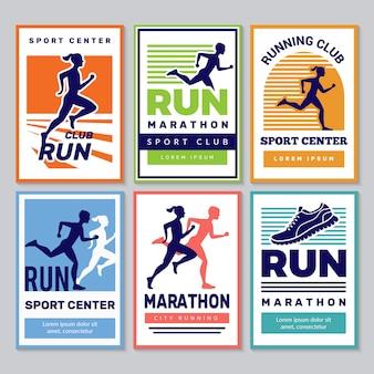Affiche du club de course. marathon vainqueurs sportifs athlètes fitness pour personnes en bonne santé collection de pancartes