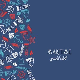Affiche du club de yacht maritime avec de nombreux symboles, y compris des poissons, des navires, des étoiles rouges et des drapeaux sur le bleu