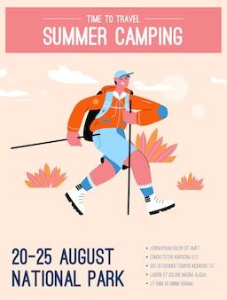 Affiche du concept de camping d'été et de temps de voyage.