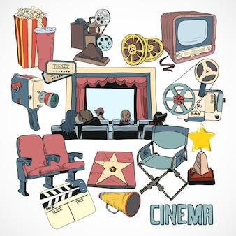 Affiche du concept de cinéma vintage