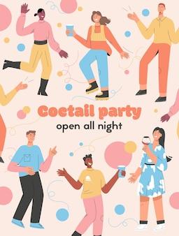Affiche du concept de cocktail ouvert toute la nuit