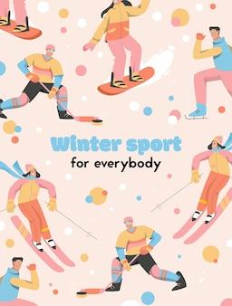 Affiche du concept de sport d & # 39; hiver pour tout le monde