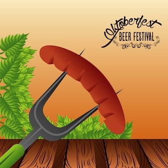 Affiche du festival de célébration oktoberfest avec saucisse.