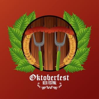 Affiche du festival de célébration de l'oktoberfest avec des saucisses dans des fourchettes.