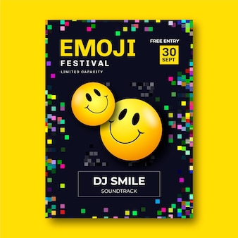 Affiche du festival emoji acide réaliste